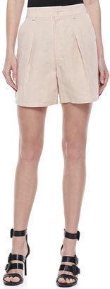 Theyskens' Theory Mid-Length Pleated Shorts, Peach Rose