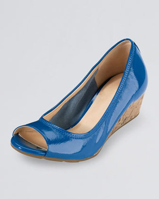 Cole Haan Air Tali Patent Leather Cork Wedge, Blue