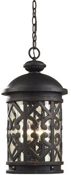 Bed Bath & Beyond ELK Lighting Tuscany Coast 3-Light Outdoor Pendant in Weathered Charcoal and Clear Seeded Glass