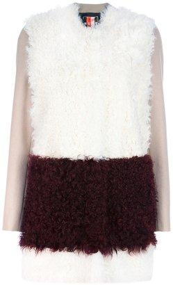MSGM stripe shearling coat