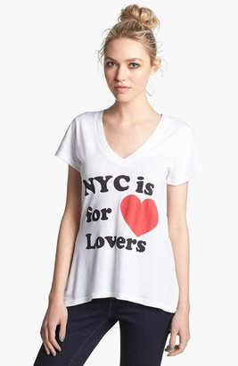 Wildfox Couture 'NYC 4 Lovers' V-Neck Tee (Nordstrom Exclusive) Clean White X-Small