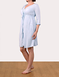 Motherhood 3/4 Sleeve V-Neck Nursing Nightgown And Robe
