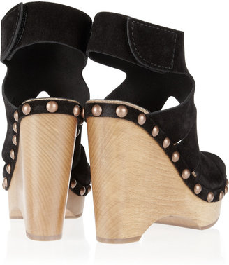 Pedro Garcia Agatha suede and wooden wedge sandals