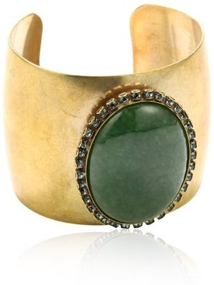 "Liz Palacios Piedras"" Green Malachite and Swarovski Crystallized Cuff"