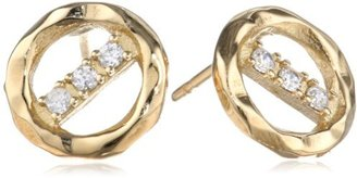 Kelly Wearstler Syon 18k Gold Finish Clear Faceted Crystal Earrings
