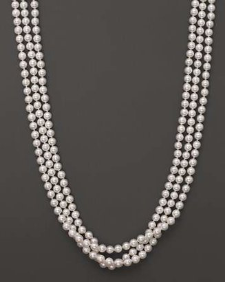 """Bloomingdale's 14K Yellow Gold 3 Row Cultured Akoya Pearl Necklace, 17"""""""