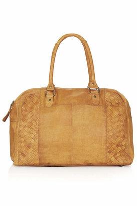 Topshop Leather woven panel luggage bag
