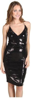 Nicole Miller Matte Sequins Racer Back Dress (Black) - Apparel