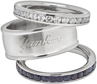 New York Yankees LogoArt Stainless Steel Crystal Stack Rings