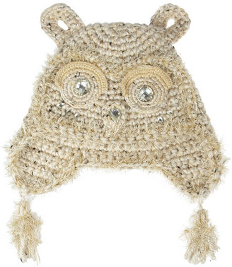 Anna Sui Embellished crochet-knit owl hat