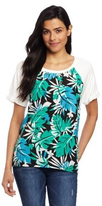 Chaus Women's Cap Sleeve High Low Graphic Palms Top