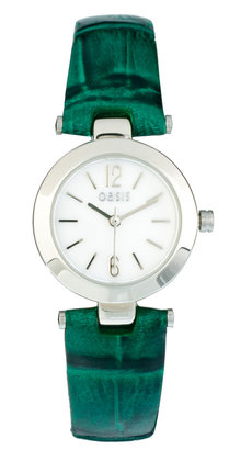 Oasis Ladies Green Crocodile Leather Watch Strap with Mother of Pearl Dial