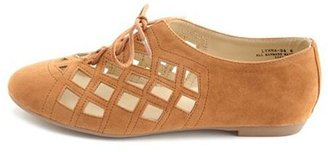 Charlotte Russe Sueded Laser-Cut Oxford Flat