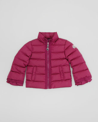 Moncler Quilted Jacket with Grosgrain Trim, Raspberry