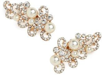 BaubleBar Gold Pearl Scroll Ear Cuffs