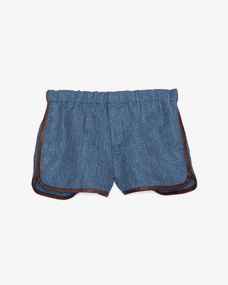 Thakoon Leather Trim Denim Track Shorts