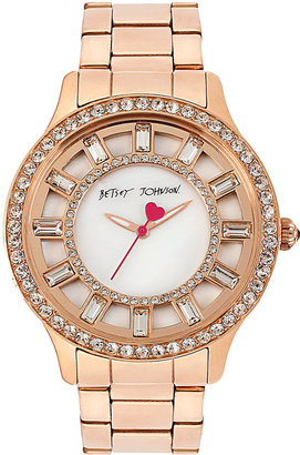 Betsey Johnson Rose Gold And Crystal Watch