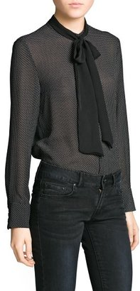 MANGO Outlet Contrast Bow Polka-Dot Blouse