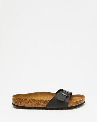 Birkenstock Women's Black Flat Sandals - Madrid Birko-Flor Regular Slides - Women's - Size 37 at The Iconic