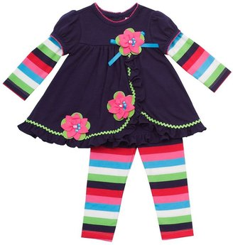 Rare Editions floral mock-layer tunic & leggings set - toddler