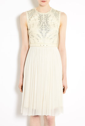 Catherine Deane Octavia Laser-cut Leather And Silk Tulle Dress