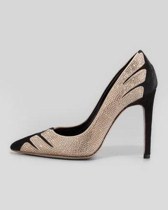 Rene Caovilla Velvet Strass Linear Pointed-Toe Pump, Black/Golden