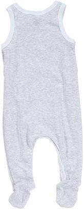 Petit Bateau 'Faucheux' Footie (Baby) - White/Grey-NB