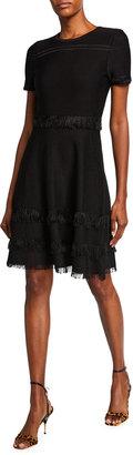Milly Cut Fringe Trim Short-Sleeve Dress