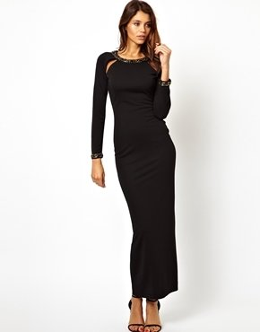Asos Embellished Back and Cuff Maxi Dress - Black