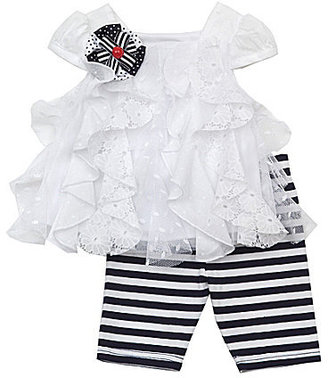 Rare Editions Infant Clip-Dot Lace Top & Striped Leggings