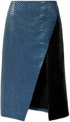 Rodarte Laminated Snake Patterned Denim Skirt