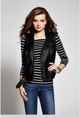 GUESS Fiona Sleeveless Moto Faux-Leather Vest