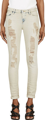 Iro Light Beige Shredded Nash Jeans $210 thestylecure.com