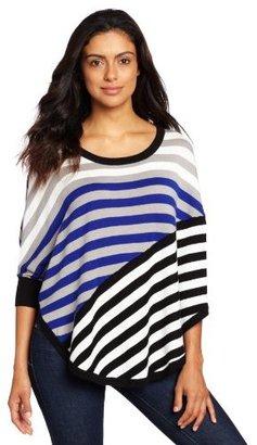 Amy Byer Women's Stripe Sweater Poncho