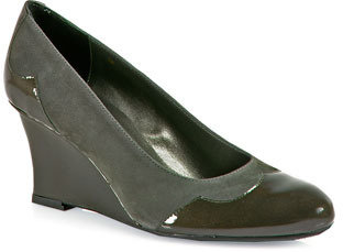 VANELi Udor - Patent Leather and Suede Wedge in Grey