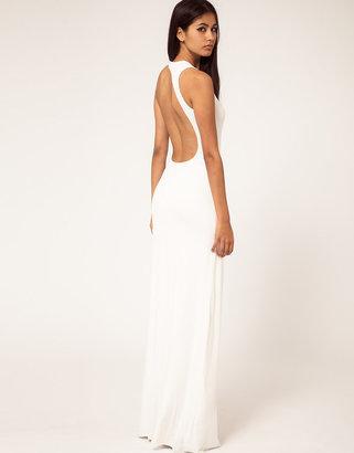 Aqua Starbright Asymmetric Open Back Maxi Dress