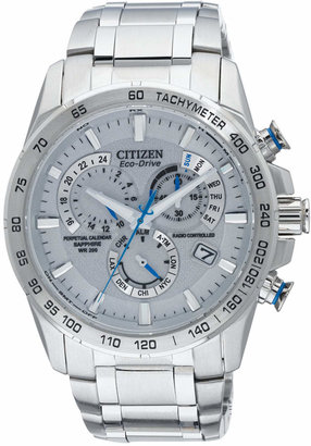 Citizen Men's Eco-Drive Perpetual Chrono A-T Stainless Steel Bracelet Watch 42mm AT4000-53B - A Macy's Exclusive $625 thestylecure.com