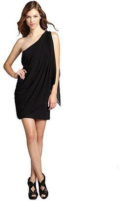Wyatt black chiffon 'Alice' one shoulder dress