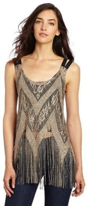Only Hearts Club Women's Lady Day Fringe Tank with Liner