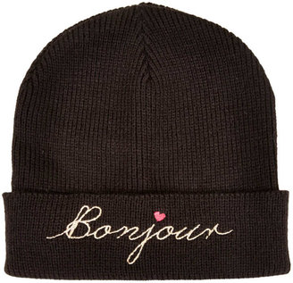 Topshop Bonjour Embroidered Beanie