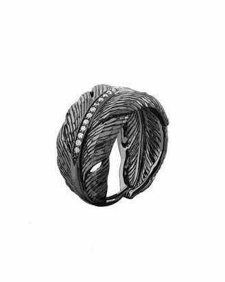 Michael Aram Rhodium-Plated Diamond Feather Band Ring