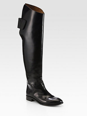 Acne Studios Carlos Polished Leather Over-The-Knee Boots