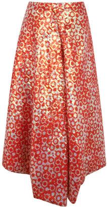 J.W.Anderson Red Sequin Drape Skirt