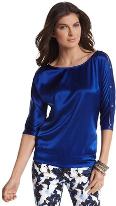 White House Black Market Sapphire Silk Dolman Sleeve Blouse