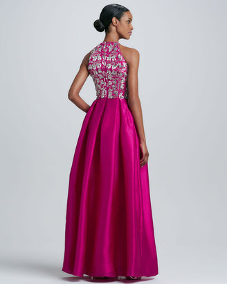 Naeem Khan Beaded-Bodice Gown