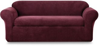 Sure Fit Stretch Metro Burgundy Two-Piece Sofa Slipcover