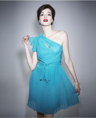 Alberta Ferretti for Impulse Dress, Sleeveless One Shoulder Tie Keyhole Pleated A Line
