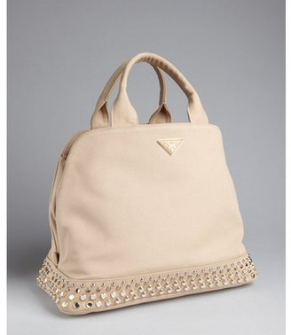 Prada rope canvas jeweled base top handle bag