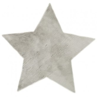 Pilepoil Gray Faux Fur Star Rug