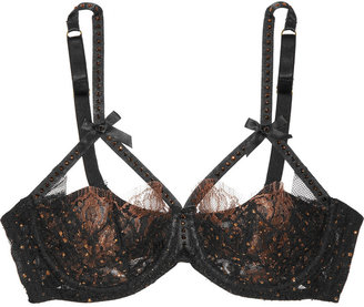 Agent Provocateur Zsa Zsa Swarovski crystal-embellished lace underwired bra